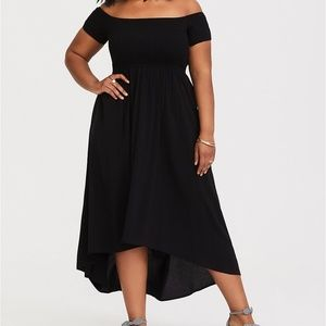 torrid Dresses - Torrid black smocked off shoulder hi lo maxi 1X